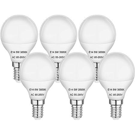 E14 Bombillas LED pequeñas para pelotas de golf con tornillo Edison 5W equivalentes a 40W bombillas incandescentes, blanco cálido 3000K, 420 lm, sin parpadeo, sin atenuación, CA 85-265 V, paquete de 6
