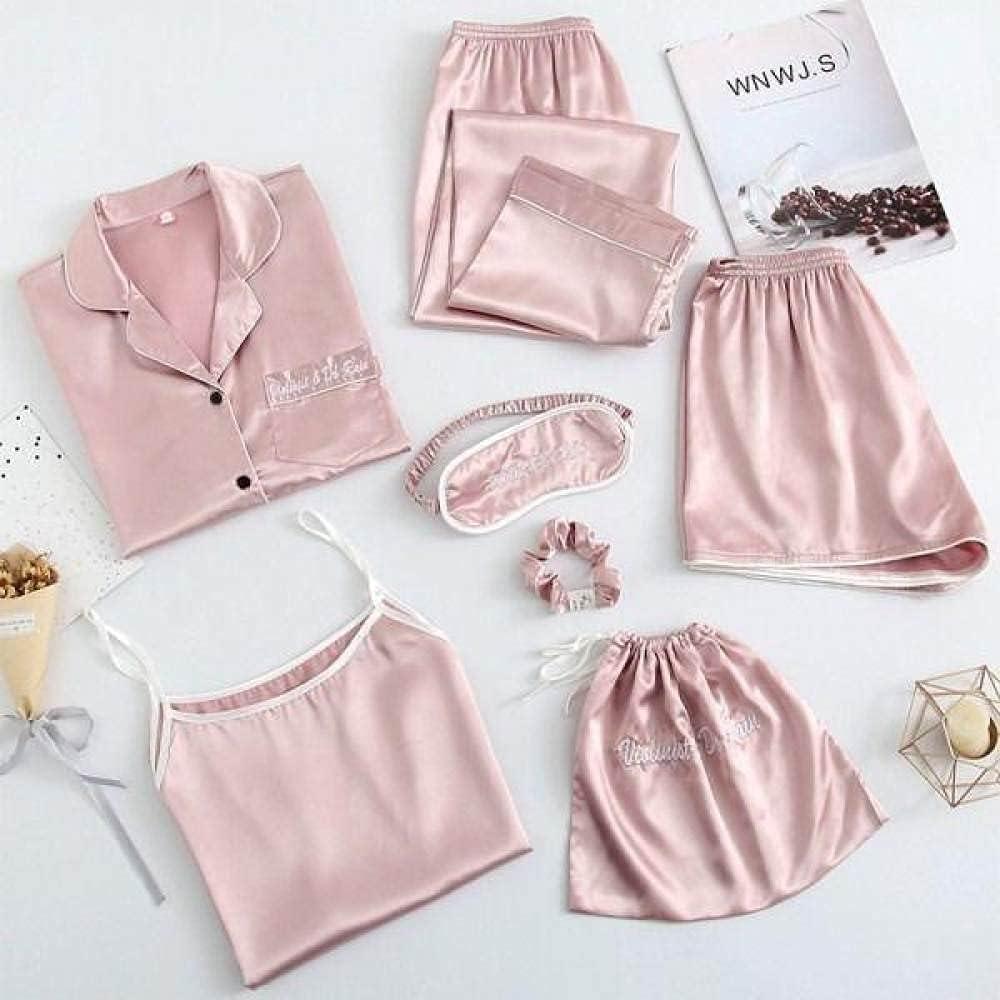 SDCVRE Pajama Set 7PCS Pajamas Suit Satin Long Sleeve Pijamas Sl