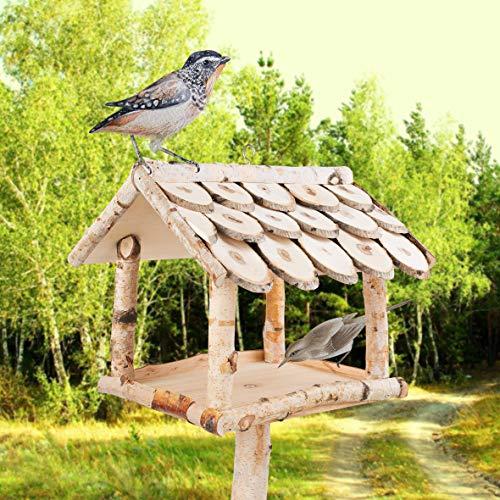 YourCasa Vogelhaus mit Ständer Birke Natur Holz / Futterhaus für Vögel mit Ständer / 132 cm Groß + Wetterfest/Vogelhäuschen mit Schindel Dach/Vogel Futterstation Futterspender