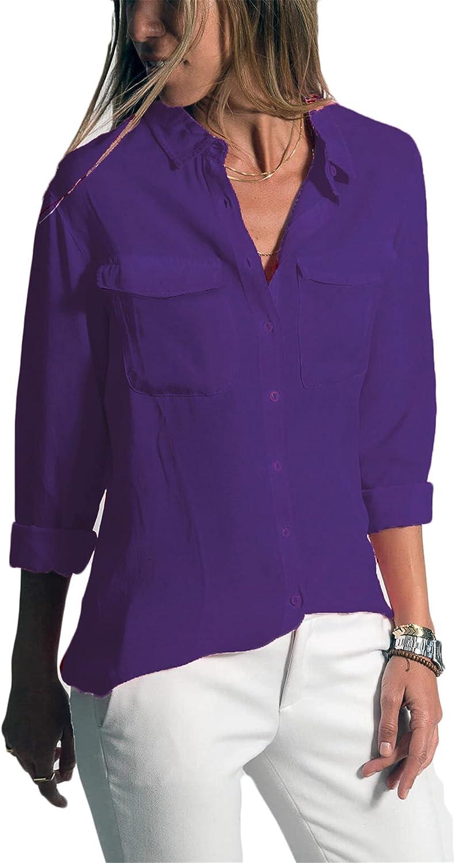 Andongnywell Womens Casual Lapel Long Sleeve Shirts Button Down Blouses Shirt Tops Pockets Shirt Blouse