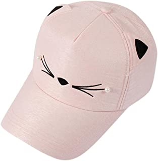 Lavany Women's Girl Baseball Caps,Cute Pearl Cat Ears Visor Cotton Dad Hats Caps