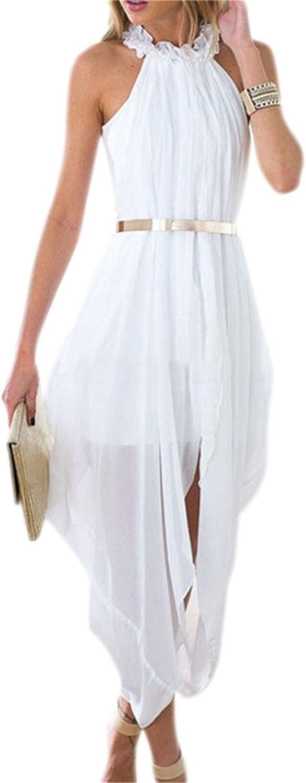 Austin Mall Women's Sheer Max 79% OFF Chiffon Folds Hi Low Delicate Dress Loose Gold Bel