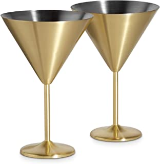 VonShef 16oz Gold Martini Cocktail Glasses, Brushed Gold Stainless Steel, Set of 2 with Gift Box