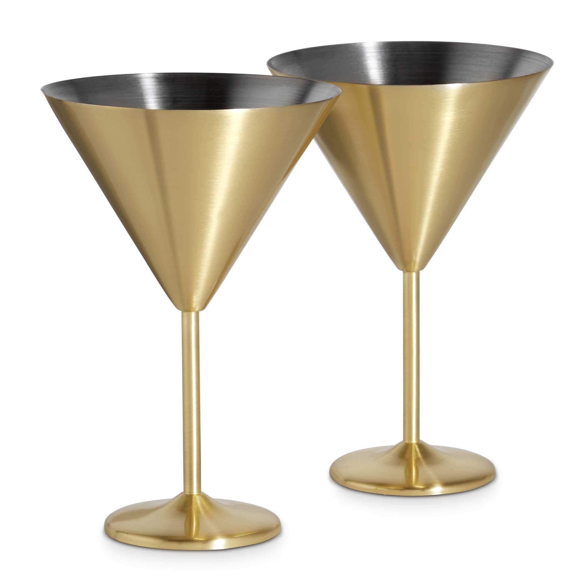 VonShef Juego de 2 Copas de Cóctel Martini de Acero Inoxidable ...
