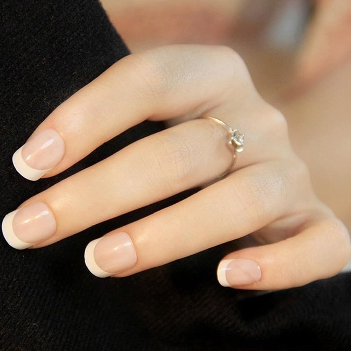 白い要求失業24PCSレディース女性DIYマニキュアアートのヒント爪付き爪(図示のように)