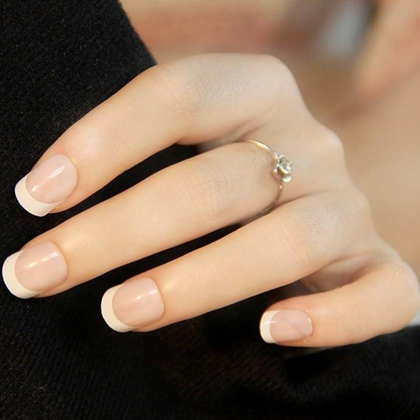 繰り返すコンベンション樫の木24PCSレディース女性DIYマニキュアアートのヒント爪付き爪(図示のように)