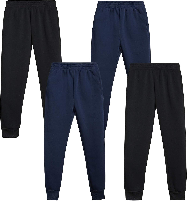 Quad Seven Boys Active Fleece Jogger Sweatpants 4 Pack