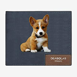 Personalized pet Photo Wallets for Men Custom Engraved Wallet Christmas Birthday Gift Dad Blue 3D double Side f