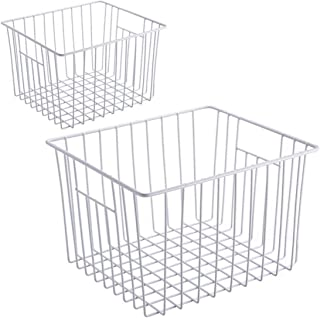 KIKIBRO Wire Storage Basket, Durable Metal Storage Organizer Bins with Handles for Kitchen Cabinets, Pantry, Freezer, Refr...