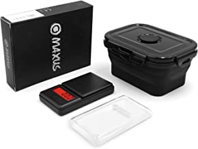 Digital Scale 200g x 0.01g + Collapsible Silicone Bowl with Lid 400ML - MAXUS Mate S Portable Mini Scale 7oz x 0.001oz Black