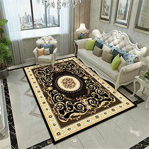 WQ-BBB Dormitorios La Alfombrers Hermosa Decoración de Estilo Europeo con diseño de Borde de patrón marrón Negro Alfombra de Puerta 50X80cm