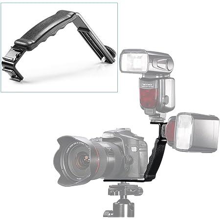 NEEWER L型 ブラケットホルダー/フラッシュブラケット ホットシュー付きのカメラ フラッシュ ミニDVカムコーダ適用