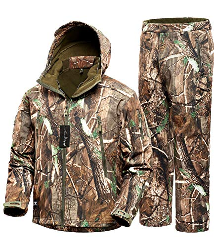 NEW VIEW Hunting Jackets Waterproof Hunting Camouflage Hoodie for Men,Camo Jackets and Tactical Camouflage Pants (Jacket and pants2, US L=Tag XL)