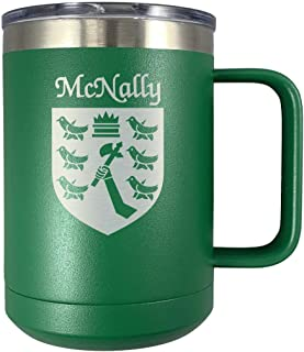 McNally Irish Coat of Arms Stainless Steel Green Travel Mug with Handle