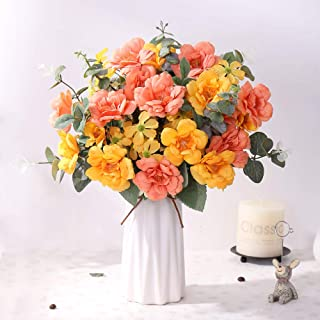 YUYAO Artificial Rose Flowers with Ceramic Vase Silk Flowers Fake Flower Bouquets Wedding Home Office Decoration (Sunset)