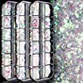 36 Boxes Holographic Nail Art Sequins, FANDAMEI Iridescent Mermaid Flakes Colorful Confetti Glitter Stickers DIY Decals Decoration Face Jewels Hair Body Glitter