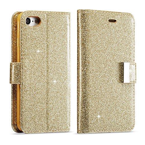 LCHULLE Für iPhone 6 Plus Hülle, 6S Plus Brieftasche, iPhone 6 Plus Lederbezug, Glänzend Funkeln Bling PU-Leder Flip Folio Ständer Brieftasche Schutzhülle mit 6 Kartensteckplätze-Gold