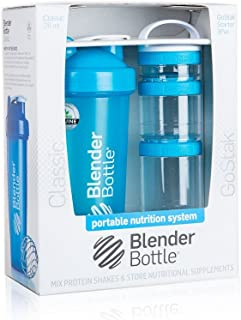 BlenderBottle Combo-Pack: (1) 28 Oz Classic Bottle + (1) GoStak Starter 3PAK (Aqua)