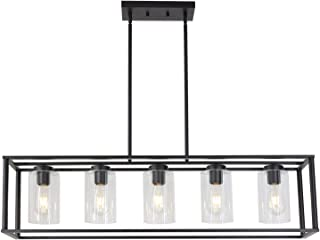 VINLUZ Contemporary Chandeliers Black 5 Light Modern Dining Room Lighting Fixtures Hanging, Kitchen Island Cage Pendant Lights Farmhouse Flush Mount Ceiling Light with Glass Shade Adjustable Rods