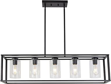 VINLUZ Contemporary Modern Chandeliers Rectangle Black 5 Light Dining Room Lighting Fixtures Hanging, Kitchen Island Cage Pen