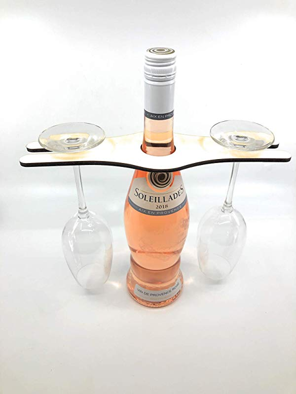 CreaTech Handcrafted Balancing Wood Display Decor Wine Bottle Glass Holder 2 Glass