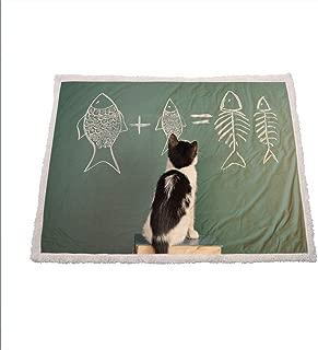 Kitten Fleece Blanket Cat Doing Arithmetic with Fish Problem on a Blackboard for Kitty to Solve Fishbone Winter Blankets 50