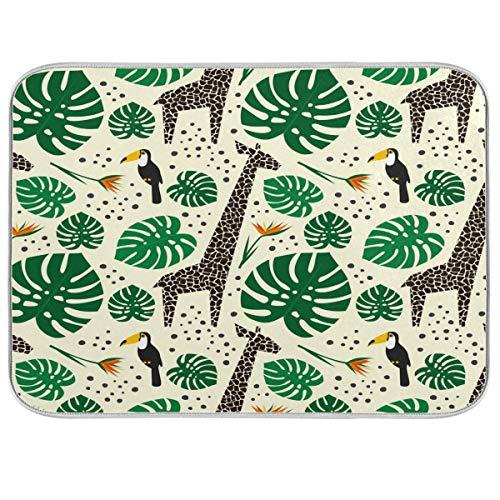 F17 - Tappetino da cucina con foglie di palma tropicale, con giraffa, tucano e uccellini, resistente al calore, assorbente per lavello e tavolo da pranzo, 40,6 x 45,7 cm