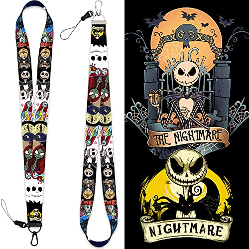 YHK The Nightmare Before Christmas Lanyard mit Schlüsselanhänger, Jack und Sally Lanyard, ID Lanyard Rucksack Lanyard, Armbänder Wristbands Party Favor (Long Lanyard)