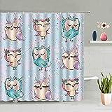 Duschvorhang 180X200 Cartoon-Eule Duschvorhang Anti-Schimmel & Wasserabweisend Shower Curtain, Duschvorhänge mit 12 Haken,Duschvorhang Textil Waschbar,Polyester