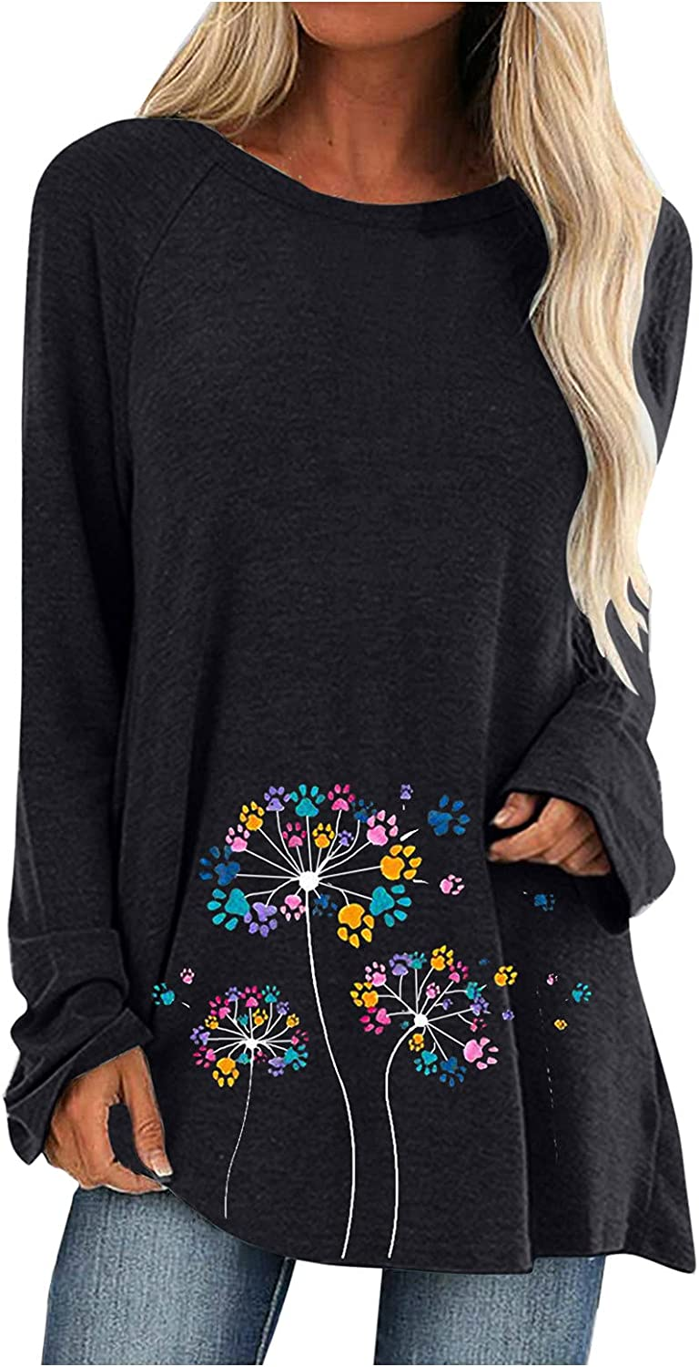 FABIURT Long Sleeve Shirts for Women Trendy Dandelion Printed Crewneck Pullover Tops Loose Graphic Tunic Sweaters Shirts