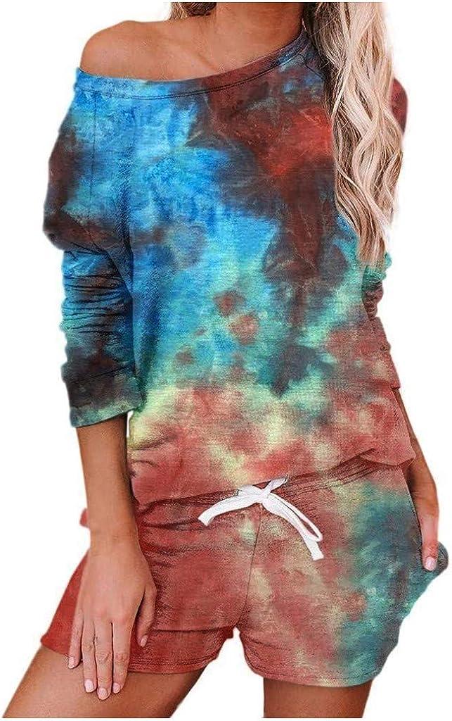 Tie Dye Lounge Sets for Women,Womens Long Sleeve Sof 2 Piece Short Pajamas Set Nightwear Sleepwear Loungewear