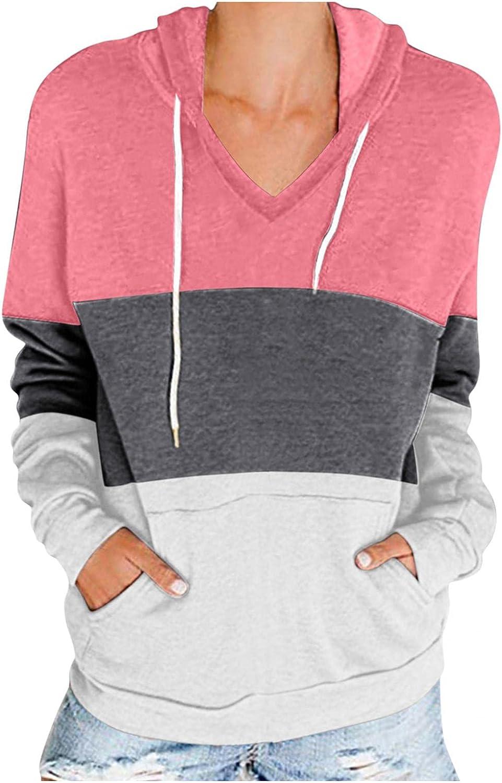 Toeava Women's Hoodie Sweatshirt Casual Long Sleeve Color Block Sweatshirt Loose Jacket Coat with Pockets