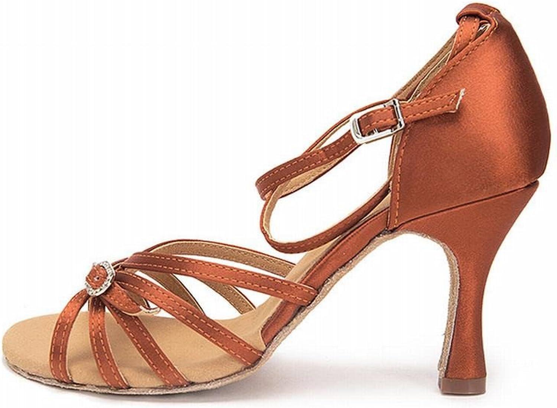 BYLE Leder Sandalen Riemchen Samba Modern Jazz Dance Schuhe Latin Dance Schuhe Weiblichen Erwachsenen mit Satin Ballroom Dance Schuhe Dunkelbraun