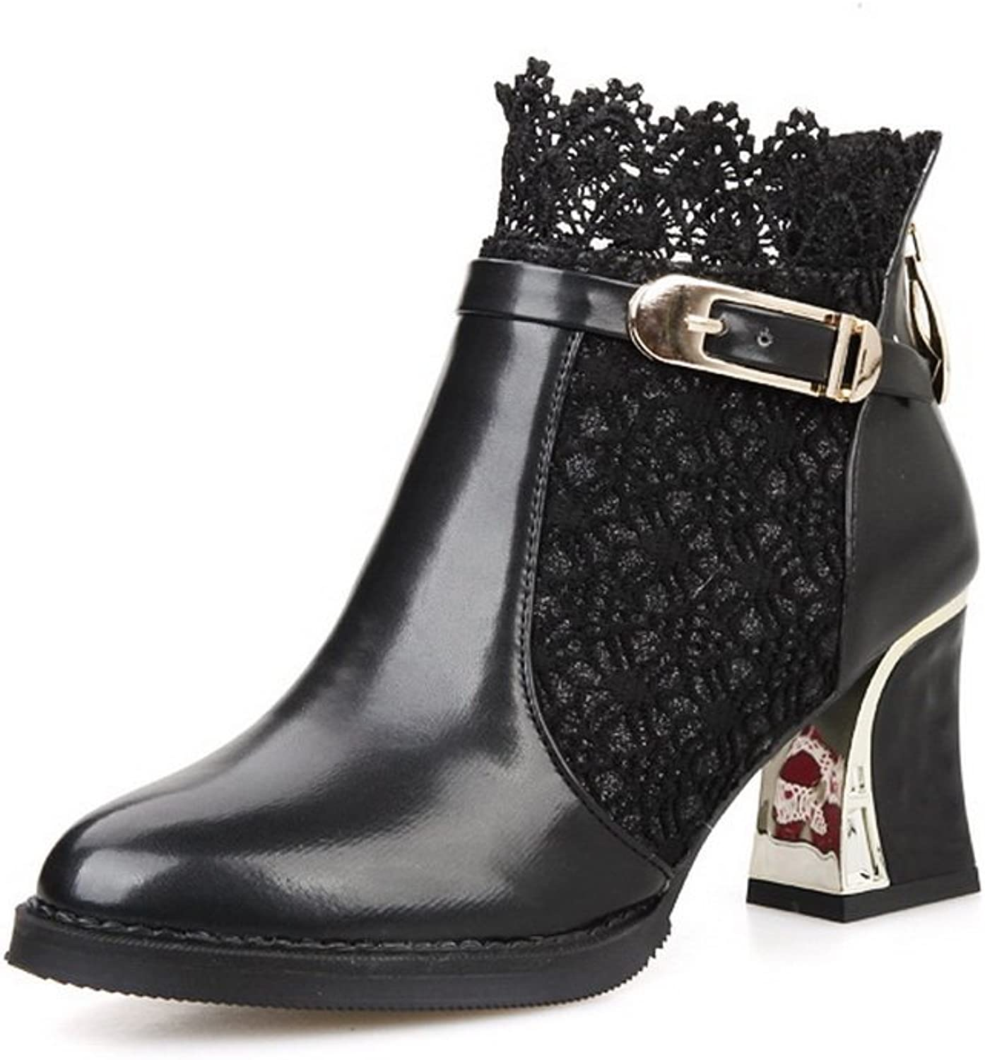 1TO9 Ladies Chunky Heels Lace Buckle Zipper Imitated Leather Boots