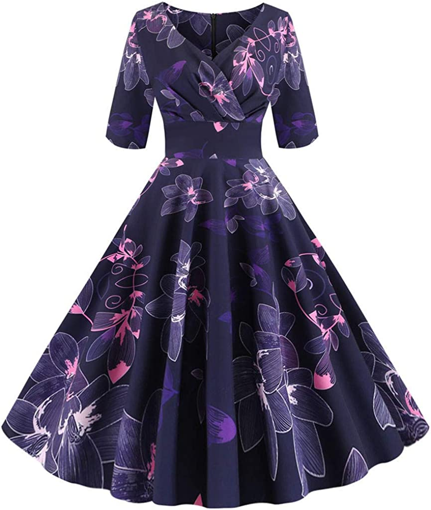 iQKA Women's Vintage Half Sleeve Floral Print Swing 1950s Casual Cocktail Evening Party Prom Dress
