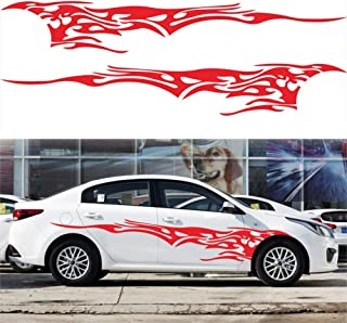 Queentres Fire Flame Sticker Car Styling Decal Auto Side Body Vinyl Strip Graphic Stickers Decor
