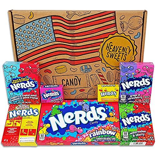 Heavenly Sweets Nerds Geschenkbox - Amerikanische Retro-Süßigkeiten, Rainbow Nerds, Nerds Mini Boxes - Ideales Geschenk für Geburtstag, Weihnachten, Valentinstag - 25x18x2,5cm