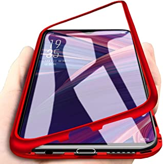 EabHulie Oppo R17 Pro Case, Hybrid 2 in 1 Transparent Tempered Glass Hard Back Metal Bumper Magnetic Adsorption Case Cover for Oppo R17 Pro Red