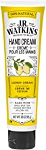 J.R. Watkins Natural Moisturizing Hand Cream, Lemon Cream, Hydrating Hand Moisturizer with Shea Butter, Cocoa Butter, and Avocado Oil, USA Made and Cruelty Free, 3.3oz