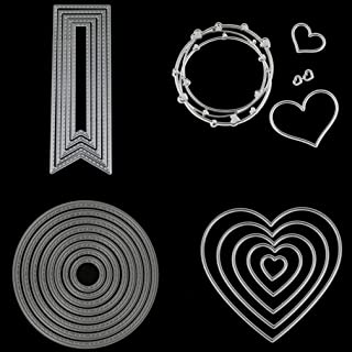 4 Sets Banner Round Love Heart Ring Cutting Nesting Dies Stencils Frame Die Cuts Metal Template Mould DIY Scrapbook Card Making Tool Gift Photo Album Embossing Scrapbooking Paper Card Decor Craft