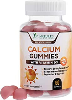 Sugar Free Calcium Gummies with Vitamin D3 - Supports Healthy Bones and Teeth - Highly Concentrated Calcium and Vitamin D ...