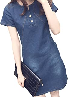Mature Mini Dress for Women Short Sleeve Round Collar Button Denim Plus Size Korean Ready Dinner Sexy Evening