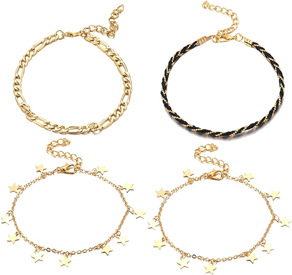 litymitzromq Foot Jewelry for Women, 4Pcs/Set Star Charm Braided Rope Anklet Ankle Bracelet for Ladies Girls Sandal Barefoot Jewelry Party Banquet Jewellery