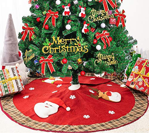 JOYPEA Christmas Tree Skirt , 48' Linen Burlap Christmas Party Holiday Indoor Outdoor Decoration Mat