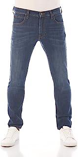 Lee Luke - Jeans da Uomo in Denim Blu, Aderenti, vestibilità Aderente, in Cotone, Elasticizzati