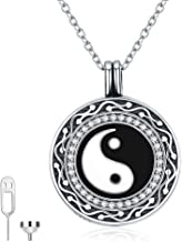 Cremation Necklace for Ashes, Urn Ashes Necklace 925 Sterling Silver Yinyang/Paw/Tree of life Round Circle Pendant Memorial Keepsake Locket Necklace to Hold Ashes for Human Pet Dog Cat