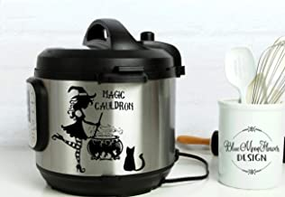 Instant Pot Vinyl Decal   Magic Cauldron with Cute Witch Stiring the Pot-Black Cat   Instapot   Pressure Cooker   IP   3 Sizes Available