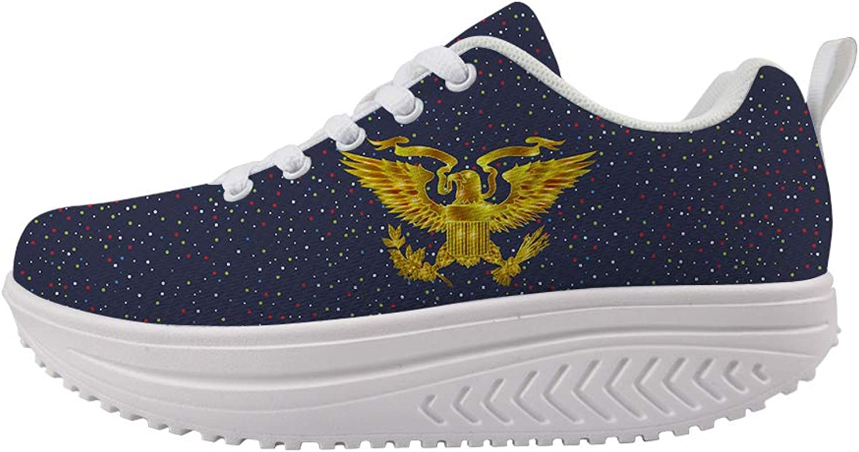 Owaheson Swing Platform Toning Fitness Casual Walking shoes Wedge Sneaker Women Glowing gold Presidential Seal