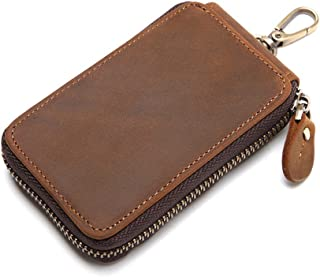 100% Genuine Leather Key Case Card Holder Wallet Car Key Organizer with 7 Hooks
