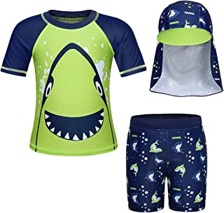 Jurebecia Boys' Rash Guard Set with Sun Hat UPF 50+ Sun Protection Bathing Suits Toddler Kids Two Pieces Swimwear